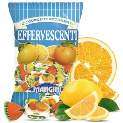 Mangini - Caramelle Effervescenti - Frizzy Candies filled with Fruit Juice (150 gr - 5.29 Oz )