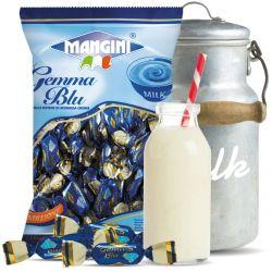 Mangini - Caramelle Gemma Blu - Candies filled with Milk Cream (150 gr - 5.29 Oz )