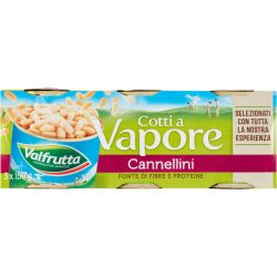 Valfrutta - Fagioli Cannellini cotti al Vapore - Cannellini Beans - 3 x 150 gr